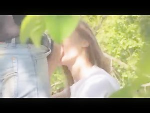 Cute girl filmed during fucking in forest