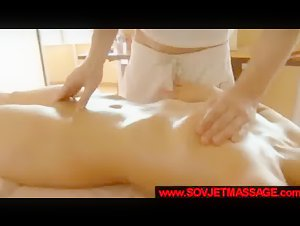 Russian teen beauty sucks and gets spooned on massage table