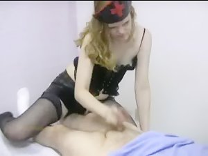 Wild nurse strokes and sucks a patient's cock for sperm sample