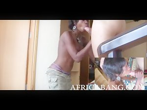 Petite African amateur gives head and banged in her hairy cunt