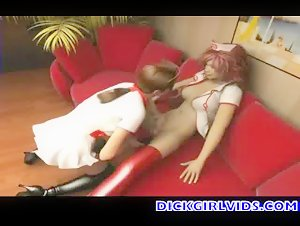 Anime nurse blows and gets fucked