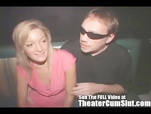 Shy Petite Girl Has Group Sex in a Public Porn Theater