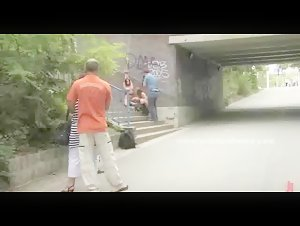 Whore gets brutally fucked in her cunt while on a leash in the city and in a park by a big cock