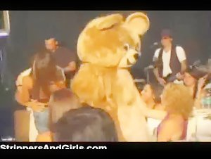 Dancing bear party with lots of horny amateur girls