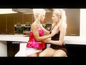 Gorgeous curly pair of blondes undressing eachother and preparing to make love