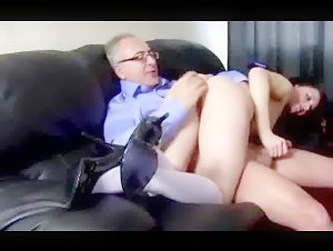 Dirty old spanks her ass before fucking her from behind