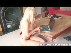 Sexy blonde girl gets horny getting her